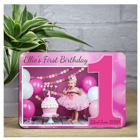 Personalised Girls Pink Sparkle First 1st Birthday Wood Photo Frame F18